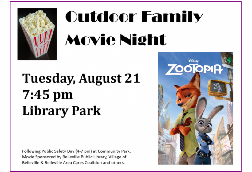 Outdoor Family Movie Night, Aug 21, 7: 45 pm at Library Park