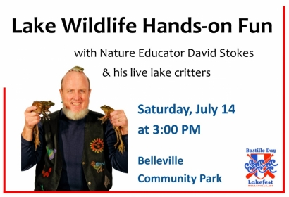 Lake Wildlife Hands-on Fun Saturday, July 14, 3:00 pm at Belleville Community Park
