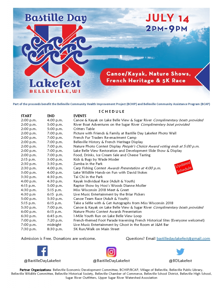 Bastille Day Lakefest Schedule of Events