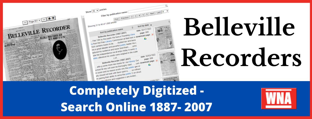 Search Belleville Recorders 1887-1923 online -2007