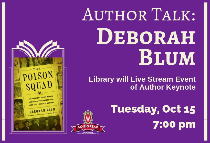 Author Talk Livestream: Deborah Blum- Poison Squad, Tuesday, October 15 at 7:00 pm at Belleville Public Library