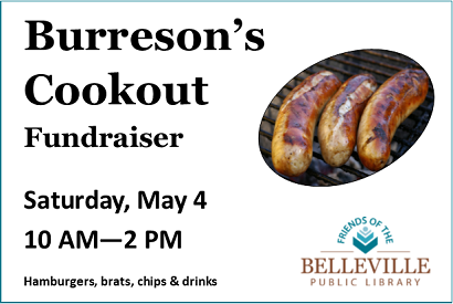 Friends Fundraiser at Burreson's Saturday, May 4 from 10 AM to 2 PM