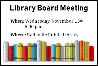 Library Board Meeting Wednesday, November 13 at 6:00 pm