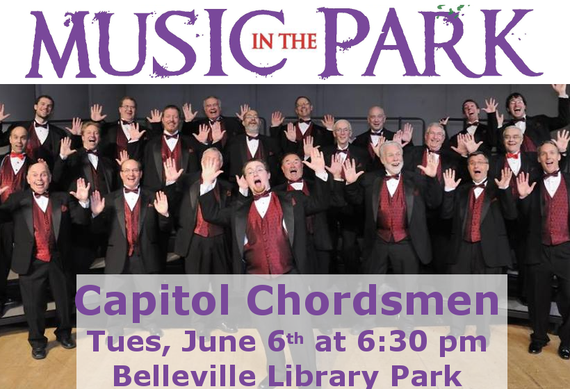 Music in the Park: Capitol Chordsmen Tuesday June 6th from 6:30-8:00 pm at Belleville Library Park