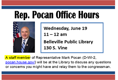 Rep. Pocan (staff aide) Office Hours, Wednesday, June 19, 2019, 11:00 am to noon.