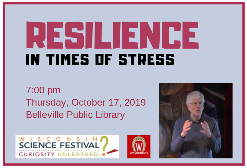 Resilience in times of Stress, 7 pm, Thursday, October 17, Belleville Public Library