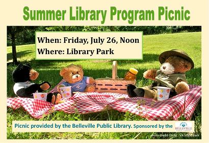 Summer Library Program Picnic, Friday, July 26, 2019 at noon, Library Park