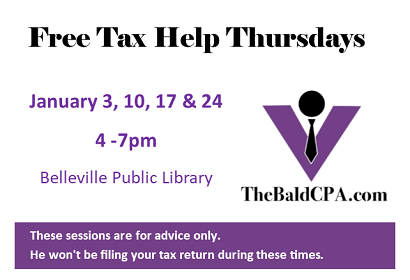 Free Tax Help Thursdays Jan 3, 10, 17, 24 from 4 - 7 pm