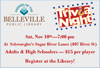 Trivia Night,  November 10, 7:00 pm at Schwoegler's Sugar River Lanes