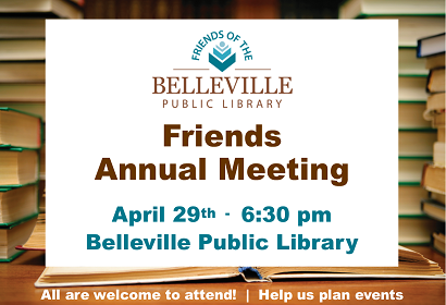 Friends of the Library Annual Meeting, Monday, April 29 at 6:30 pm