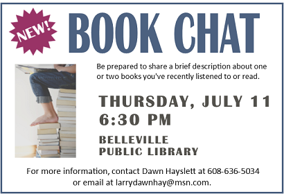 Book Chat Thursday, July 11, 2019 at 6:30 pm.
