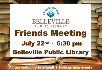 Friends of the Library meeting, July 22, 2019 at 6:30 pm