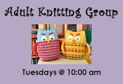 Adult Knitting Group Tuesdays at 10:00 am at Belleville Public Library