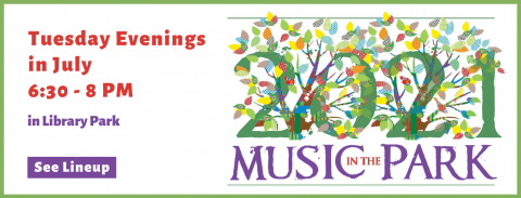 Music in the Park 2021, Tuesdays in July at 6:30 pm. BYO edibles.
