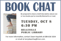 Book Chat Tuesday October 8 at 6:30 pm