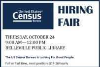 Census Hiring Fair, Thursday, October 24, 9 AM to 12 PM at Belleville Public Library