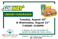 Subway Fundraiser Aug 20-21 to benefit the Belleville Public Library