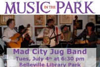 Music in the Park: Mad City Jug Band Tuesday July 4th from 6:30-8:00 pm in Belleville Library Park