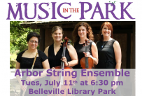 Music in the Park: Arbor String Ensemble Tuesday July 11th from 6:30-8:00 pm in Belleville Library Park