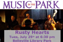 Music in the Park: Rusty Hearts Tuesday July 25th from 6:30-8:00 pm in Belleville Library Park