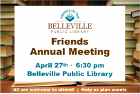 Friends Annual Meeting, April 27, 2020 at 6:30 pm @ Belleville Public Library