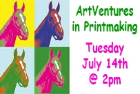 Andy Warhol style horse print ArtVentures in Printmaking Tuesday July 14th at 2pm