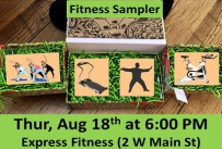 Fitness Sampler Thursday August 18th at 6:00 PM Express Fitness (2 West Main Street)