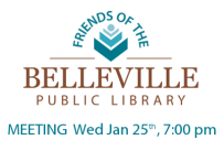 Friends of the Belleville Public Library meeting Wednesday January 25th at 7:00 pm