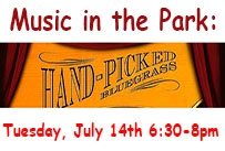 Music in the Park: Hand-Picked Bluegrass Tuesday July 14th 6:30-8pm