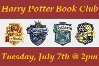 Harry Potter Book Club 4 House Shields Tuesday July 7th at 2pm