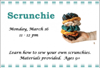Scrunchie, Monday, March 16, 2020 at 11:00 am. All Ages.