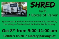 Shred up to 3 boxes of paper October 8th from 9:00-11:00 am Pellitteri Truck in Library Parking Lot